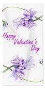Happy Purple Valentine Beach Towel