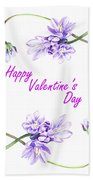 Happy Purple Valentine Beach Sheet