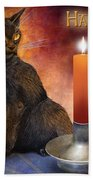 Happy Samhain Kitten And Candle Beach Towel