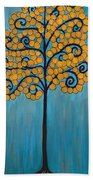 Happy Tree In Blue And Gold Beach Towel