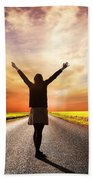 Happy Woman Standing On Long Road At Sunset Beach Towel