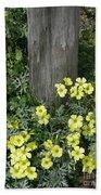 Happy Yellow Flowers Beach Towel