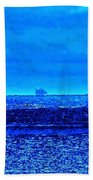 Harbor Of Refuge Lighthouse And Sailboat Abstract Beach Towel