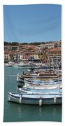 Harbor Scene Cassis  Beach Towel