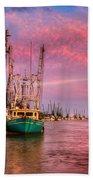 Harbor Sunset Beach Towel by Debra and Dave Vanderlaan