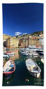 Harbor With Fishing Boats Beach Towel