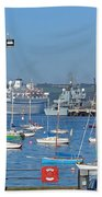Harbour And Queen's Wharf - Falmouth Beach Towel