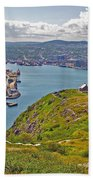 Harbour View From Signal Hill National Historic Site In Saint John's-nl Beach Towel