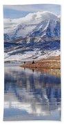 Hardy Fishermen Deer Creek Reservoir And Timpanogos In Winter Beach Towel