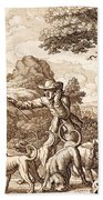 Hare Hunting, Engraved By Wenceslaus Beach Towel