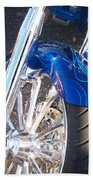 Harley Close-up Blue Flame  Beach Towel