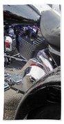Harley Close-up Blue Lights Beach Towel