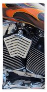 Harley Close-up Orange Flame Beach Towel
