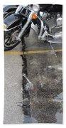 Harley Close-up Rain Reflections Tall Beach Towel