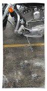 Harley Close-up Rain Reflections Wide Beach Towel