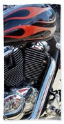 Harley Close-up Red Flame 1 Beach Towel