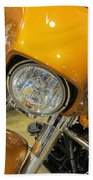 Harley Close-up Yellow 2 Beach Towel