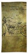 Harley Davidson Motorbike Patent  Beach Towel