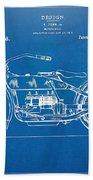 Harley-davidson Motorcycle 1919 Patent Artwork Beach Towel by Nikki Marie Smith