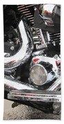 Harley Engine Close-up Rain 2 Beach Towel