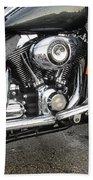 Harley Engine Close-up Rain 3 Beach Towel
