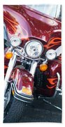 Harley Red W Orange Flames Beach Towel