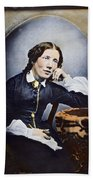 Harriet Beecher Stowe (1811-1896). American Abolitionist And Writer. Oil Over A Daguerrotype, C1852 Beach Towel