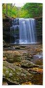 Harrison Wright Falls In Early Fall Beach Towel