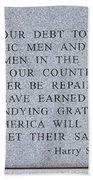 Harry S Truman Quote Memorial Beach Towel