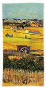 Harvest At La Crau With Montmajour In The Background Beach Towel by Vincent Van Gogh