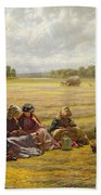 Harvesters Resting In The Sun, Berkshire, 1865 Oil On Canvas Beach Towel