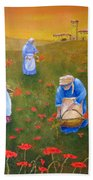 Harvesting Poppies In Tuscany Beach Towel
