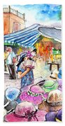 Hat Shopping At Turre Market Beach Towel