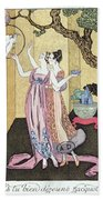 Have You Had A Good Dinner Jacquot? Beach Towel by Georges Barbier