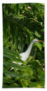 Hawaiian Garden Visitor - A Bright White Egret In The Lush Greenery Beach Towel