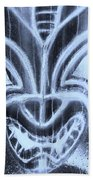 Hawaiian Mask Negative Cyan Beach Towel