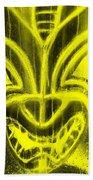 Hawaiian Mask Negative Yellow Beach Towel