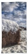 Hay Bale In The Snow Beach Towel