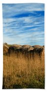 Hay Bales And Contrails Beach Towel