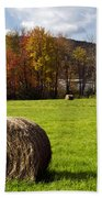 Hay Bales And Fall Colors Beach Towel