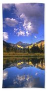 Haystack Mountain Reflected In Beaver Pond Beach Towel
