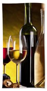 Hdr Style Wine Glasses Bottle Cask And Grapes Beach Towel