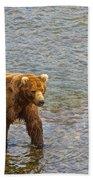 Head Grizzly Bear And Sea Gull In Moraine River In Katmai Np-ak  Beach Towel