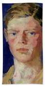 Head Of A Young Man Beach Towel