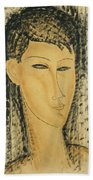 Head Of A Young Women Beach Towel
