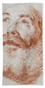 Head Of An Old Man Looking Up Beach Towel