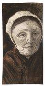 Head Of An Old Woman In A Scheveninger Beach Towel