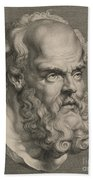 Head Of Socrates Beach Towel by Anonymous