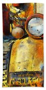 Headlight On A Retired Relic Abstract Beach Towel