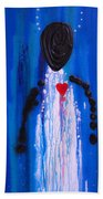 Heart And Soul - Angel Art Blue Painting Beach Towel by Sharon Cummings
